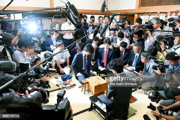 14yearold shogi player Sota Fujii reacts after his victory at Kansai Shogi Kaikan on June 21 2017 in Osaka Japan The 4dan shogi player defeated...