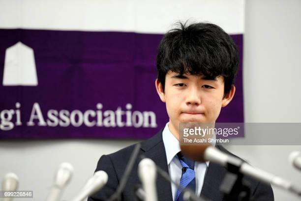 14yearold shogi player Sota Fujii speaks during a press conference after his victory at Kansai Shogi Kaikan on June 21 2017 in Osaka Japan The 4dan...