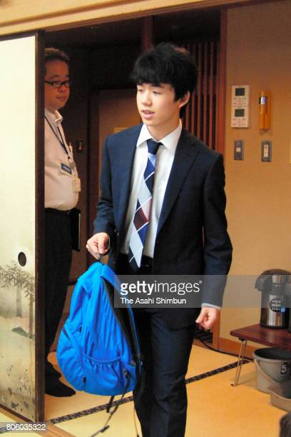 14yearold Sota Fujii arrives to compete in the Ryuo final tournament against Yuki Sasaki at Shogi Kaikan on July 2 2017 in Tokyo Japan Fujii who had...