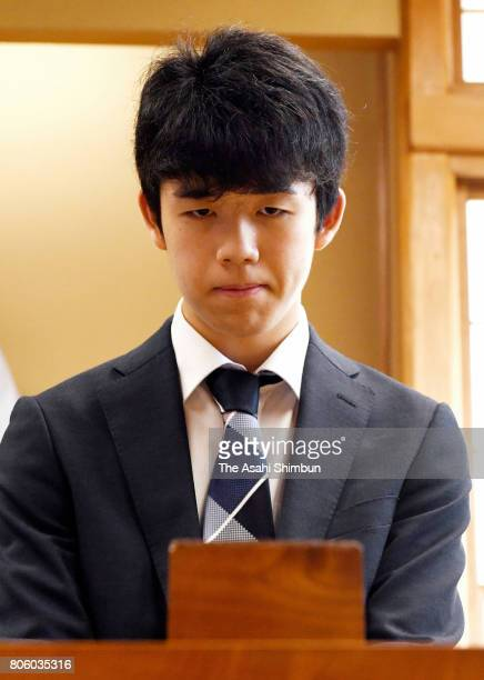 14yearold Sota Fujii prepares to compete in the Ryuo final tournament against Yuki Sasaki at Shogi Kaikan on July 2 2017 in Tokyo Japan Fujii who had...