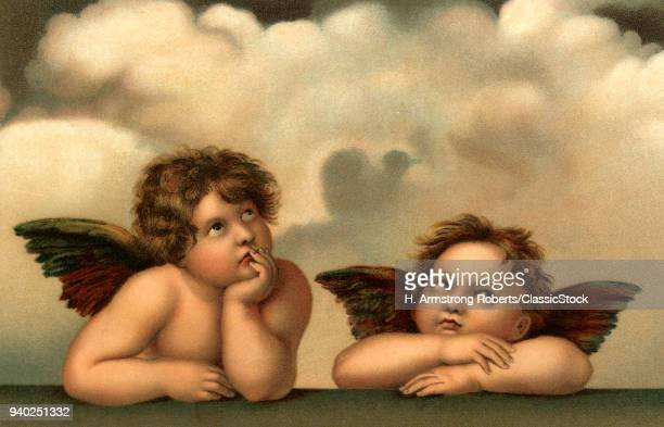 1510s 1514 CHERUBS FROM THE SISTINE MADONNA DETAIL OF LARGER PAINTING BY RAPHAEL AKA RAFFAELLO SANTI RENAISSANCE ARTIST
