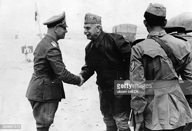 1511891Offizier generalfeldmarschall DBesuch des italienischen Befehlshabersin Afrika General Italo Gariboldi beim Kommandeur des Afrikakorps...