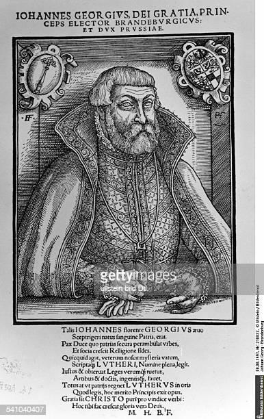 1598Kurfürst von Brandenburg 1571-1598Holzschnitt von Peter Hille nacheinem Gemälde von Franz Friedrich