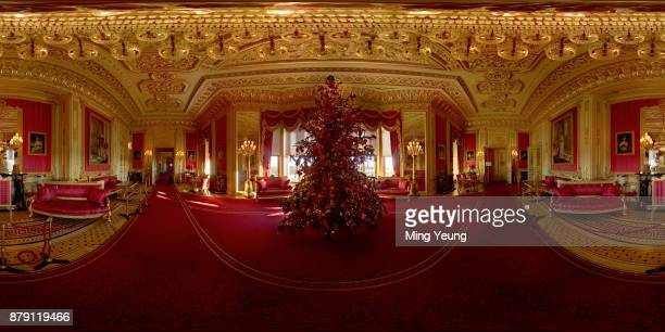 A 15ft Christmas tree decorated with decorations in the Crimson Drawing Room on November 23 2017 in Windsor England