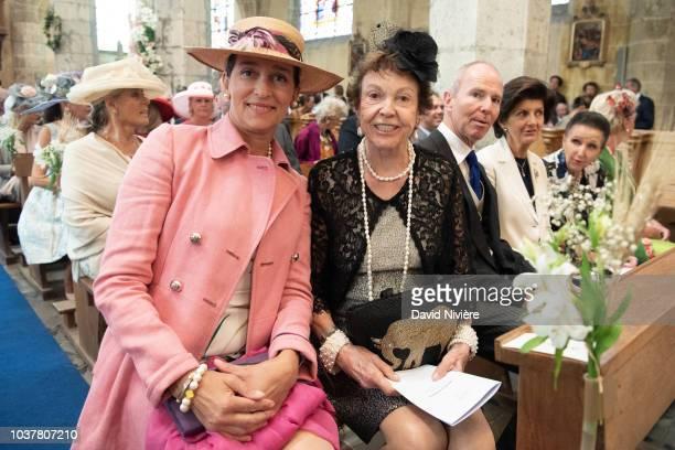 Princess Maria Pia of Bourbon Parme and Princess Tania of Bourbon Parme attend the wedding ceremony of the Princess Helene of Yugoslavia and her...