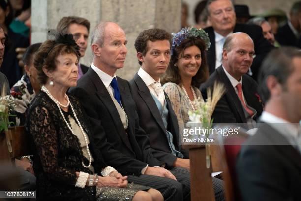 Princess Maria Pia of Bourbon Parme Prince Michel of Yugoslavia Leopold Gaubert Eleonora Rajneri and Prince Serge of Yugoslavia attend the wedding...