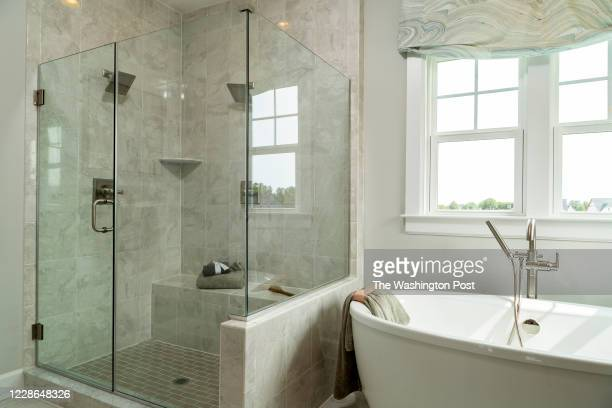 Shower and Tub in the Master Bath in the Longwood Model Home at Maple Lawn South on September 15, 2020 in Fulton Maryland.