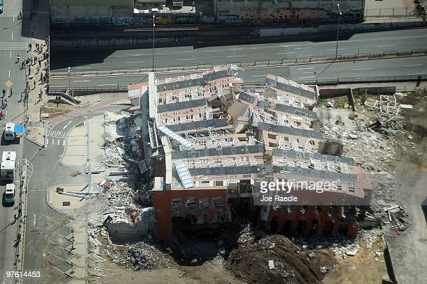 A 15story apartment building is seen laying on its side after it collapsed during the February 27th earthquake March 10 2010 in Concepcion Chile Food...
