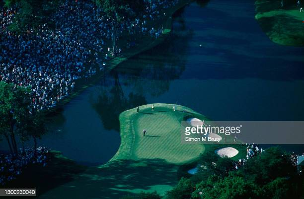 15th: Aerial view of the 18th Hole on the blue coarse of the US Open played at the Congressional Golf Club on June 15th, 1997 in Bethesda, MD, USA.