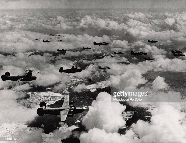 US 15th Aircraft Force 'Liberator B24' bombers formation on the Bosnian mountains Yugoslavia April 1944