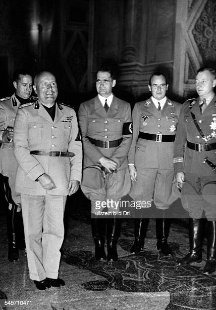 15th anniversary of the March on Rome Benito Mussolini receiving the German delegation from left Galeazzo Ciano Italian Minister of Foreign Affairs...