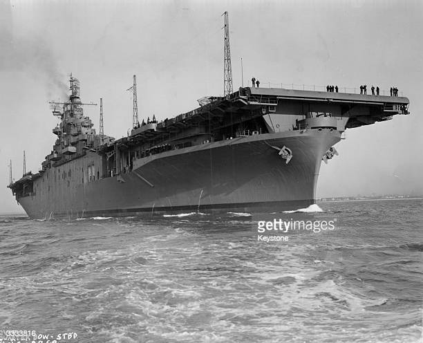 Aircraft carrier USS 'Yorktown' a recipient of a Presidential Citation for its participation in the Pacific Conflict through all its stages