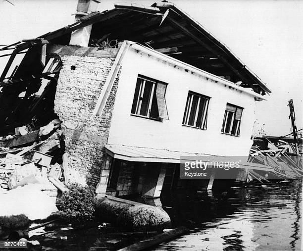 The ruins of a house in Bijela the Bay of Kotor southern Yugoslavia following an earthquake which killed hundreds and made thousands homeless
