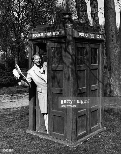 Actor Peter Davison the fifth Dr Who poses in the Tardis at BBC Television Centre