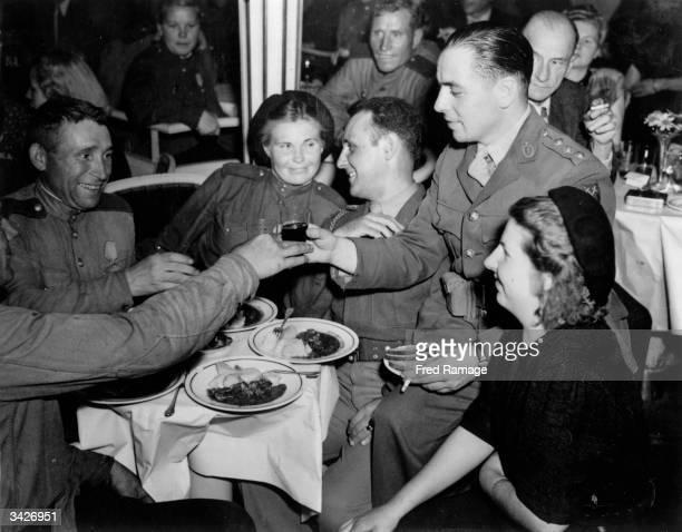English American and Soviet officers at the Femina nightclub in Nuremburger Strasse Berlin