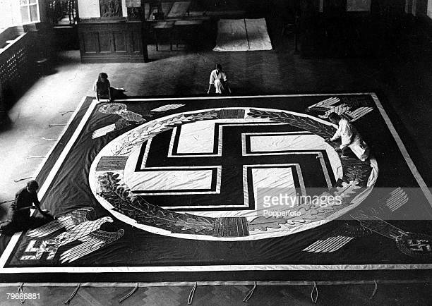 15th August A giant Nazi flag measuring 26 feet square being made in Berlin for Hitler's Nazi congress to be held in Nuremberg