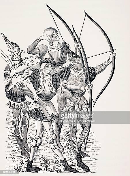 15Th Century French Long Bowmen In Action From Les Artes Au Moyen Age Published Paris 1873