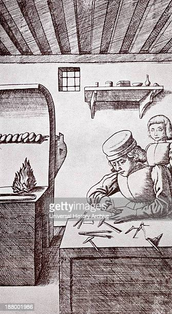 A 15Th Century Locksmith Or Goldsmith And His Apprentice After A Nineteenth Century Print