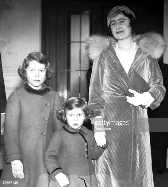 15th December 1934 The Duchess of York arriving at Londons Albert Hall with Princess Elizabeth later Queen Elizabeth II and Princess Margret to...