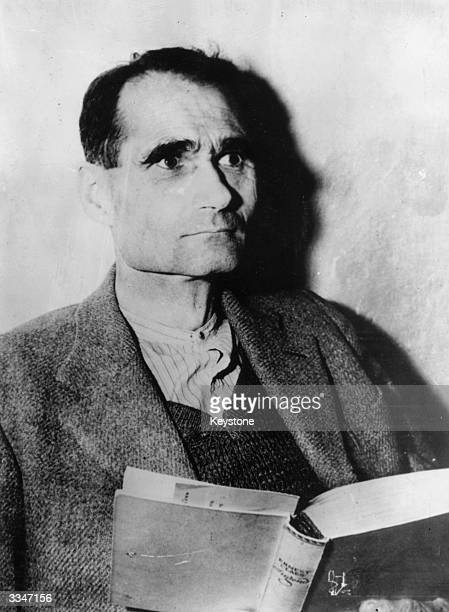 Adolf Hitler's third deputy Rudolf Hess of the Third Reich high command in his cell at Nuremberg during the war crimes trials held there