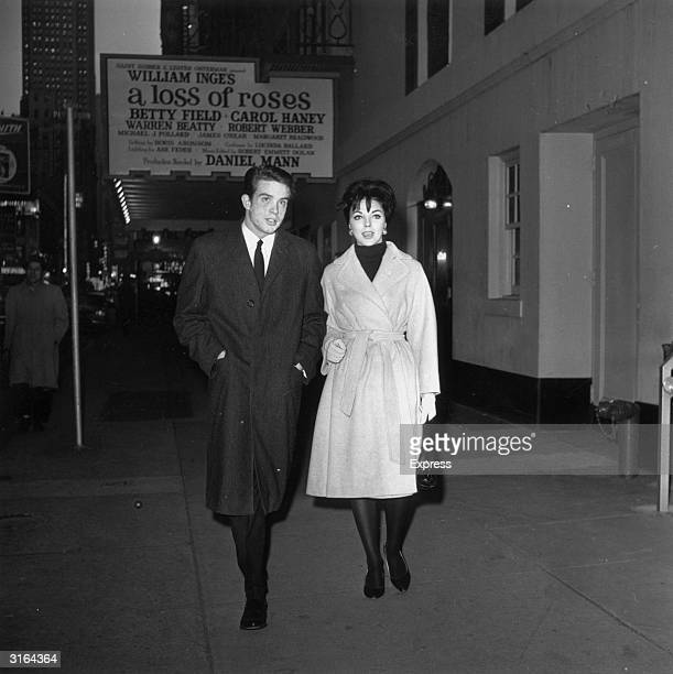 English starlet Joan Collins with American actor Warren Beatty in New York