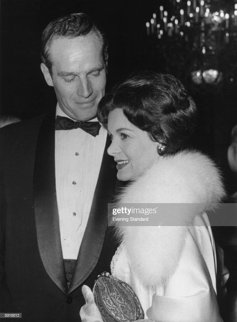 Film star Charlton Heston and his wife attend the film premiere of 'Ben Hur'.