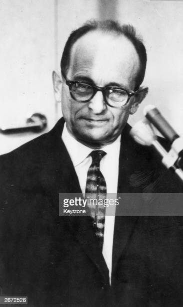 Karl Adolf Eichmann Nazi war criminal in the dock during the reading of the judgement in an Israeli court when he was condemned to death He was...