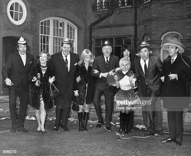 Group of television stars promoting ITV's Christmas programming which has cost the company £500,000. Left to right - Ted Rogers , Millicent Martin,...
