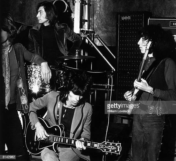 The Rolling Stones in rehearsal for a concert at the Saville Theatre London Left to right Mick Jagger Charlie Watts Keith Richards and Bill Wyman