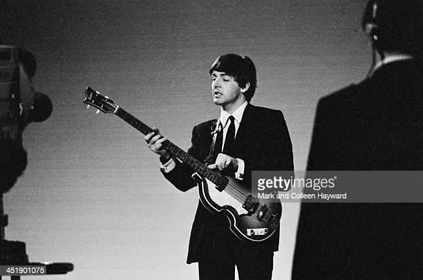 Paul McCartney from The Beatles performs at Alpha TV studios in Birmingham England during filming of ABC TV show 'Thank Your Lucky Stars' on 15th...