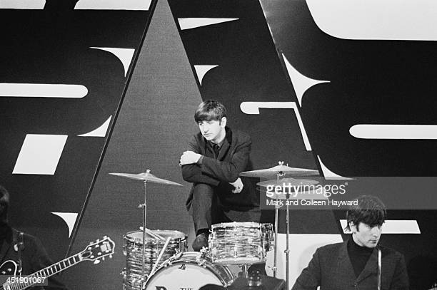 Ringo Starr and John Lennon from The Beatles posed at Alpha TV studios in Birmingham England during filming of ABC TV show 'Thank Your Lucky Stars'...