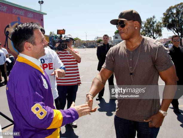 15th District City Council Member Joe Buscaino and actor LL Cool J attend the 2000 Acts Of Hope Charitable Initiative With The Los Angeles Kings at...
