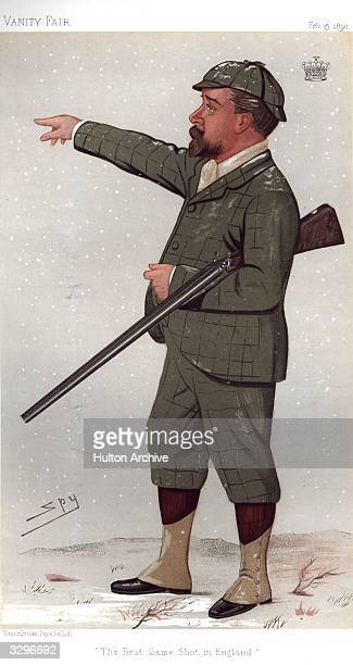 The Earl de Grey the best game shot in England who proudly boasts kills of 950 rabbits in one day and no fewer than 750 pheasants Caricature by Spy...