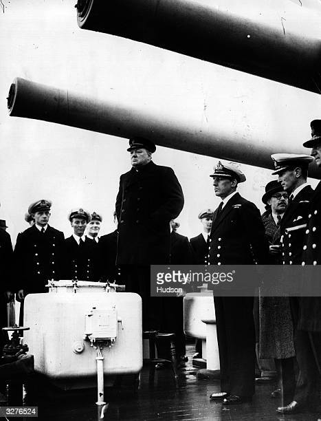 Winston Churchill as the First Lord of The Admiralty addressing the men of HMS Exeter after its return from the Battle of the River Plate and the...