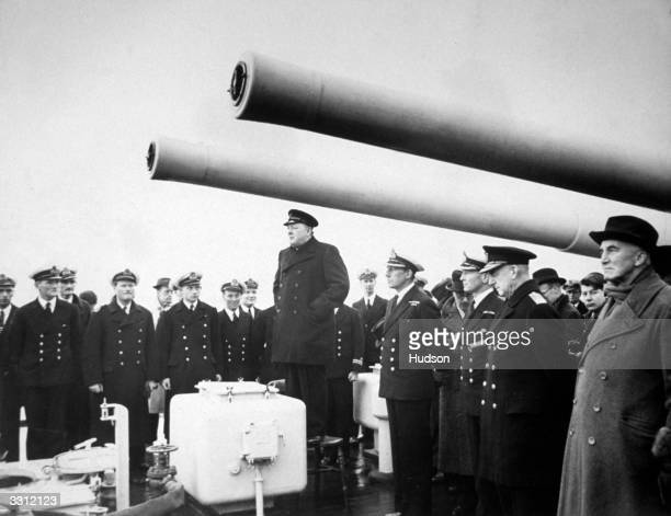 Winston Churchill as the First Lord of The Admiralty addressing the men of HMS Exeter after its return to Plymouth from the Battle of the River Plate...