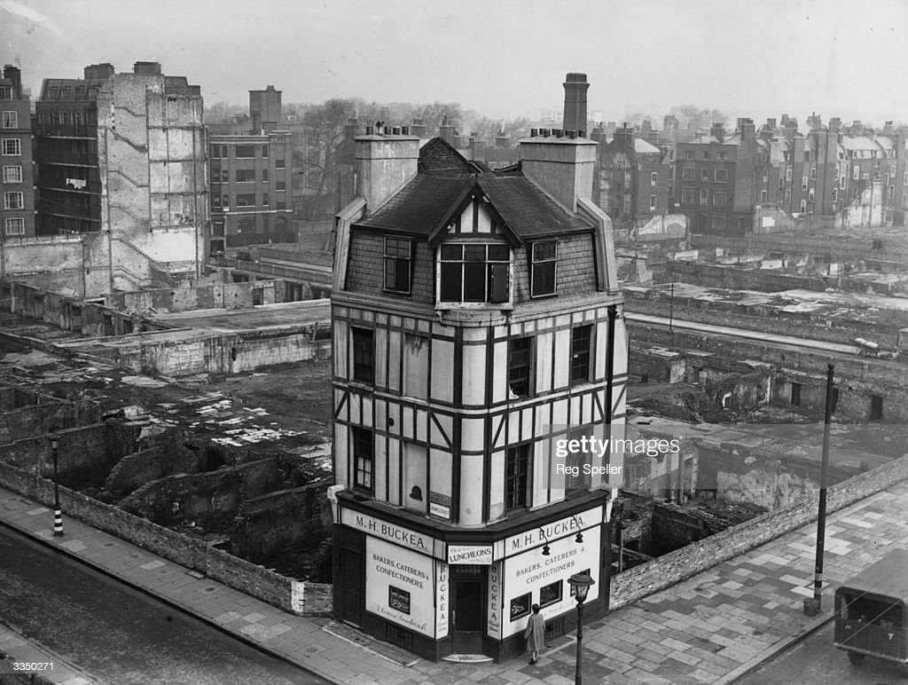 Buckea's bakers shop, stands alone on the corner of Boswell Street and Theobalds Road, Holborn, after heavy bombing in the area during the Second World War.