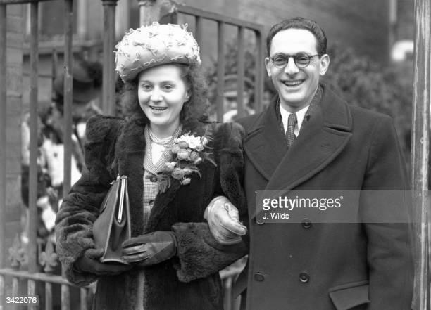 Captain Peter Churchill with his bride Odette Sansom at Kensington Register Office London