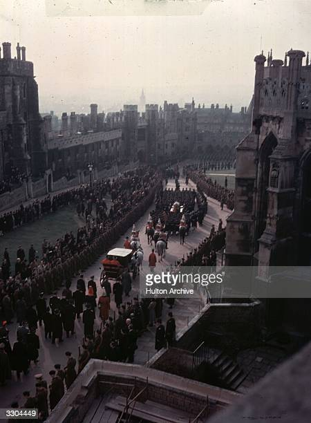 An aerial view of the funeral procession of King George VI on its way to St George's Chapel, Windsor for burial.