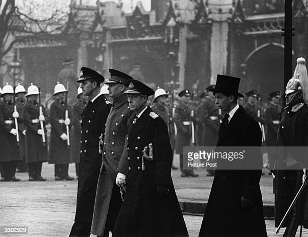 At the funeral of King George VI in London are Prince Philip Duke of Edinburgh the Duke of Gloucester the Duke of Windsor and the Duke of Kent...