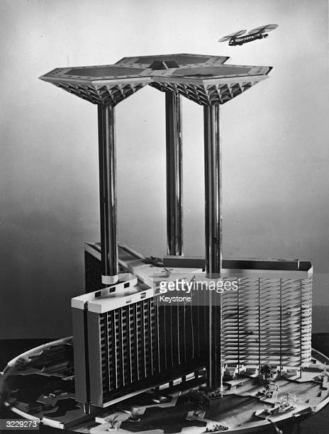An architect's model of 'Skyport 2000' a futuristic proposal for an airport building to stand in St George's Circus near Waterloo Station London in...