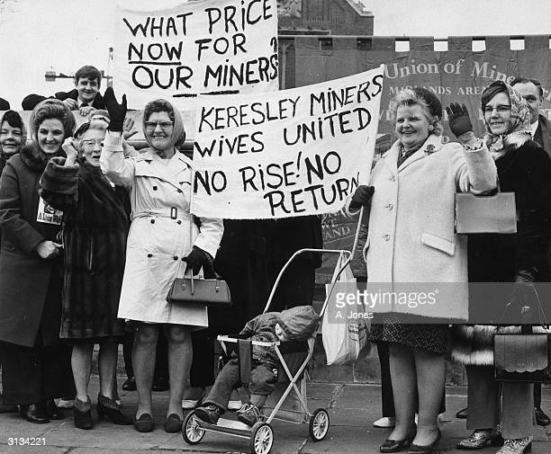 Miners wives Mrs Sally Simpson and Mrs Margaret Smith at the Tower Hill rally in London