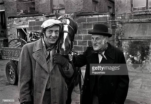 15th February 1973 Film Comedy A scene from the new British film Steptoe and son ride again showing Harry H Corbett left with Steptoe and their horse...