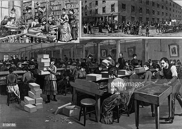 Women working in a cigarette factory in Richmond, Virginia, an important centre of the tobacco industry. Also women reading in the library and...