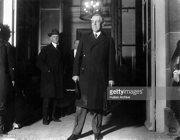 American President Woodrow Wilson leaving the Quai d'Orsay at the start of the Paris Peace Conference known as the Treaty of Versailles At these...