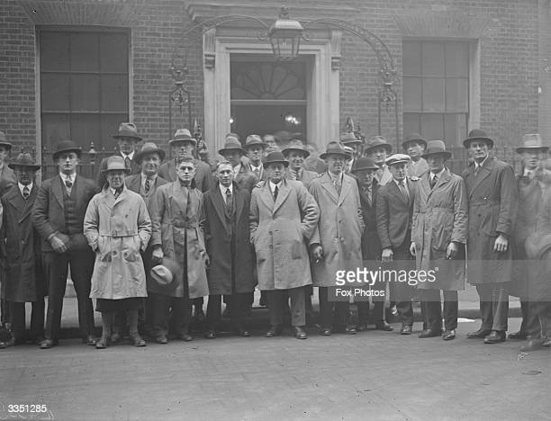 Members of an Australian national rugby team outside Number Ten Downing Street during a visit to British prime minister, Ramsay MacDonald.