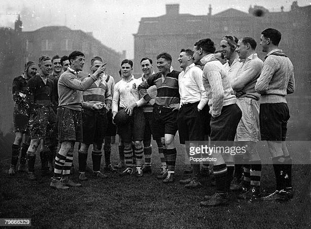 15th January 1937 London England HG OwenSmith who played cricket for South Africa is pictured coaching the England Rugby team prior to their rugby...