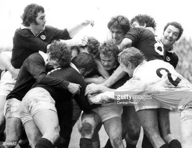 The annual rugby match 'The Calcutta Cup' being played at Twickenham when England met Scotland