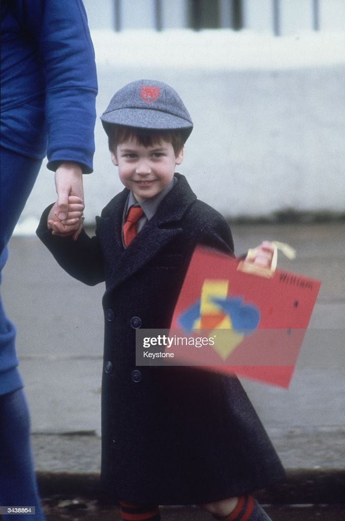 Prince William on his first day at Wetherby School, London.