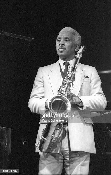 15th JANUARY: American tenor saxophone player Teddy Edwards performs live on stage at the BIM Huis in Amsterdam, Netherlands on 15th January 1987.