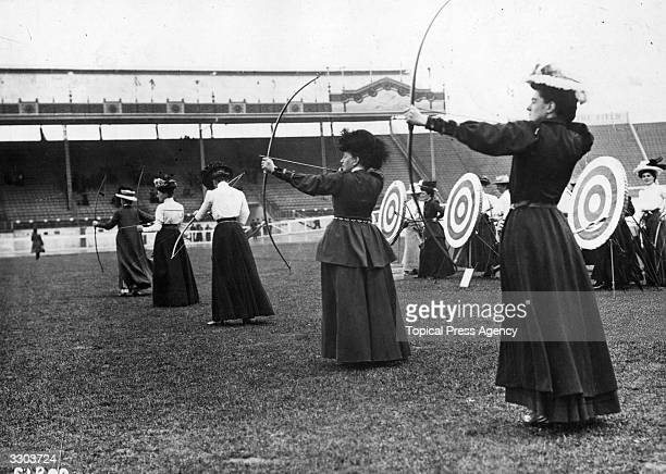 Women archers participating in the National Round at the 1908 London Olympics which was won by Sybil 'Queenie' Newall of Great Britain